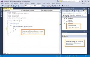Главное окно IDE Visual Studio