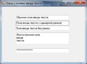 Пример окна с различными полями вводатекста